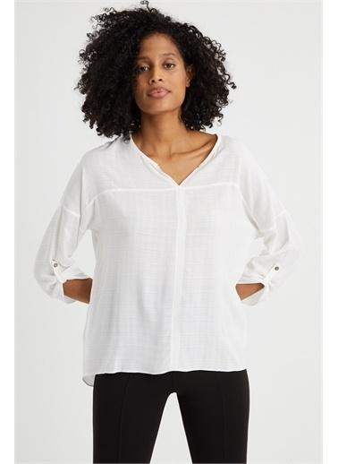 Curly  Dokuma Bluz Beyaz